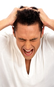 casual man in absolute despair and stress -